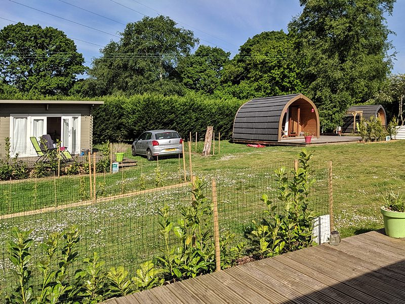 Lodges and pods in the glamping village