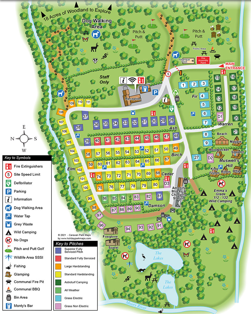 Map of pitches and camping and touring areas