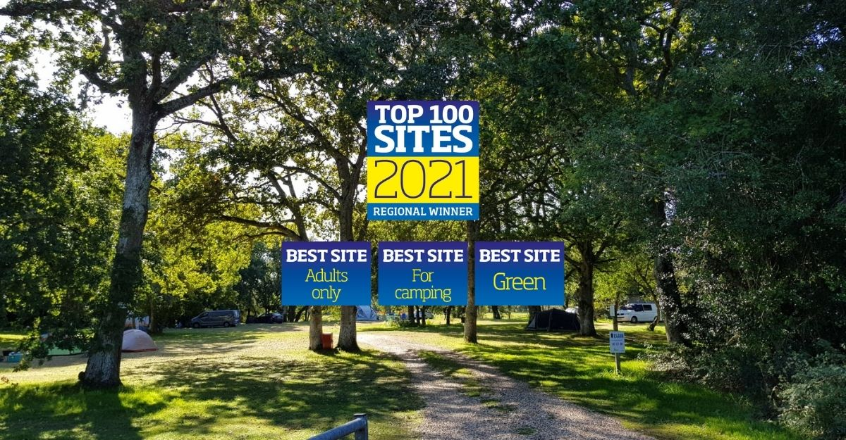 Back of Beyond camping fields with Top 100 2021 awards